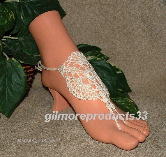 Ivory Barefoot Sandals Shoes BEACHWEAR Jewelry Beach Wedding Shoes ...