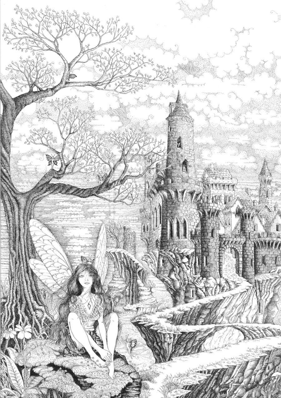 very advanced coloring pages | Fairy Pathway by ellfi @ deviantART | Coloring sheets ...