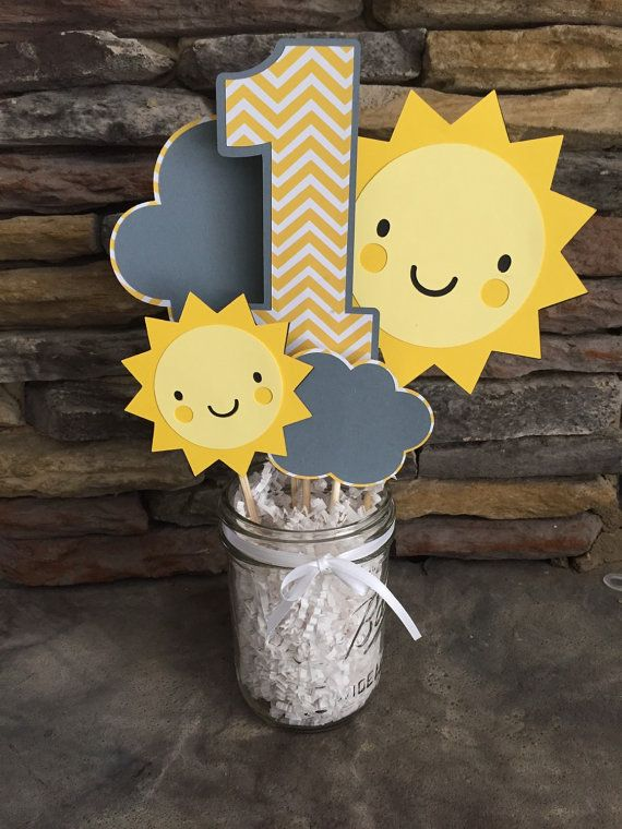 Items similar to You Are My Sunshine Centerpiece Happy Birthday Sunshine Party Decor Photo Prop Suns Chevron Yellow And Gray Decorations I am One on Etsy