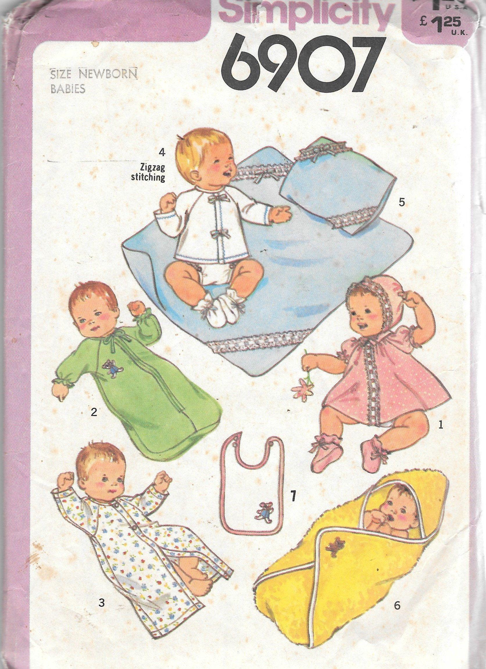 Vintage 1970s Newborn Layette Simplicity 6907 Sewing Pattern Sleeper ...