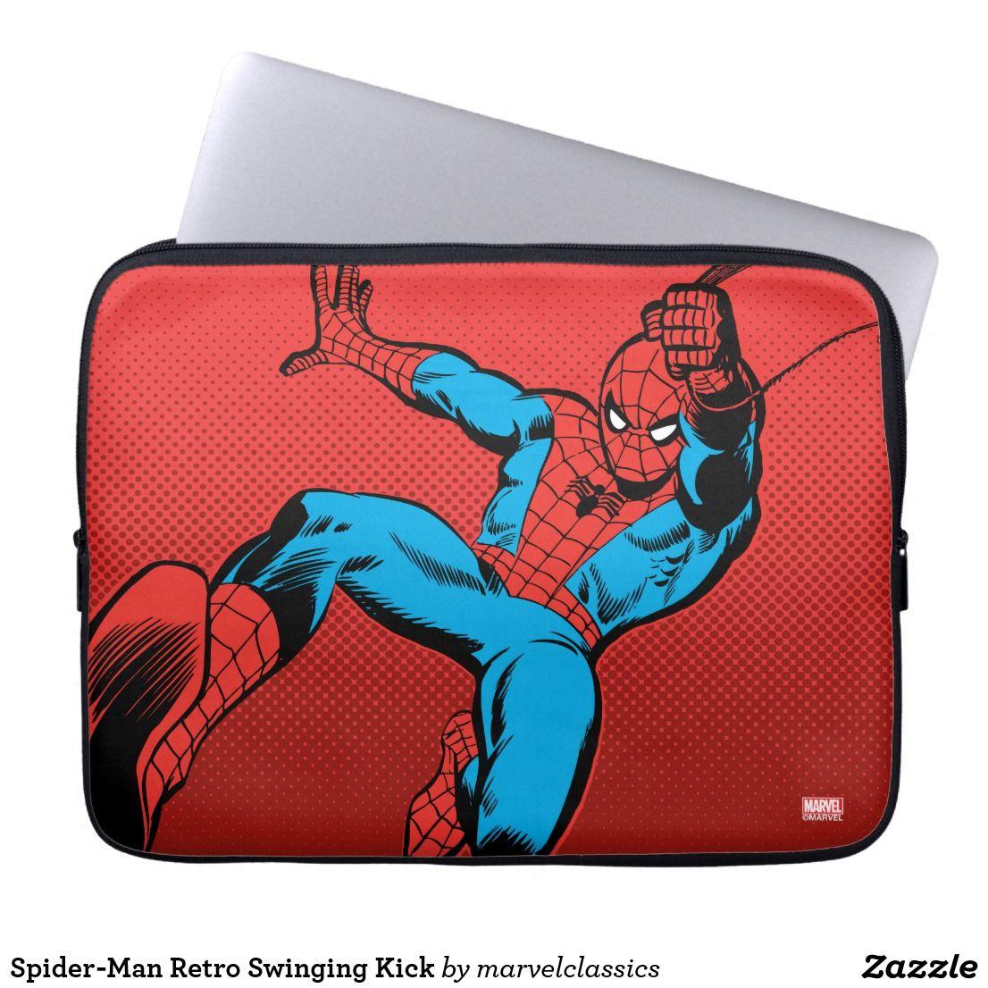 SpiderMan Retro Swinging Kick Laptop Sleeve