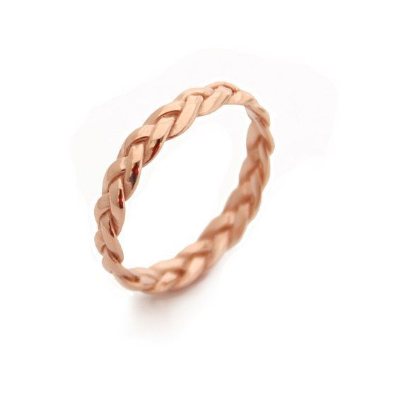 Braided Rose Gold Ring Gold Band Plaited Gold Plated Sterling