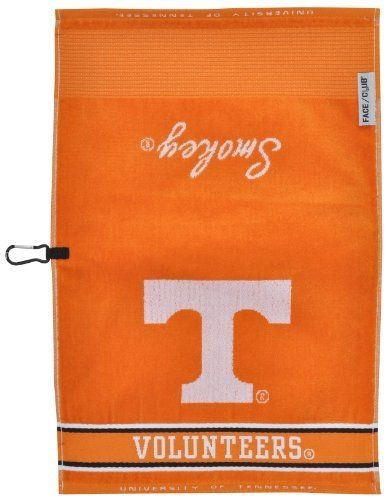 """NCAA Tennessee Volunteers Jacquard Face/Club Towel by Team Effort. $15.47. Centrally placed carabiner for easy access and to keep towel off the ground. Packaged with headercard. Yarn dyed 100-Percent cotton. Ingenuity meets versatility with the patented dual-textured 16"""" x 24"""" Face/Club Jacquard towel. Innovative woven ribs capture dirt from your clubs and a woven label denotes division between the cleaning surface. This sheared towel is both absorbent and soft to t..."""