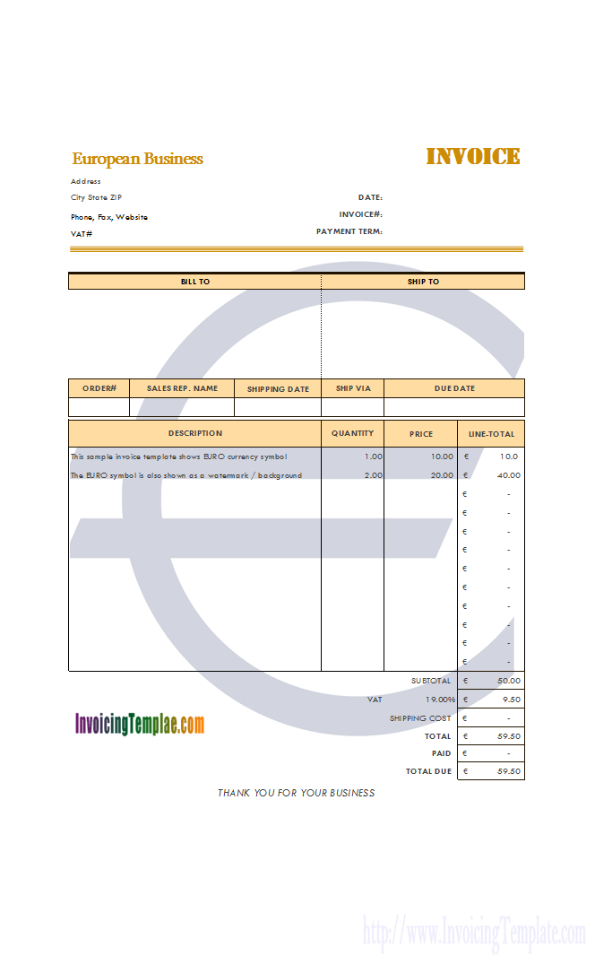 Screenshot For C  Invoicing Template In Euros  Invoicing