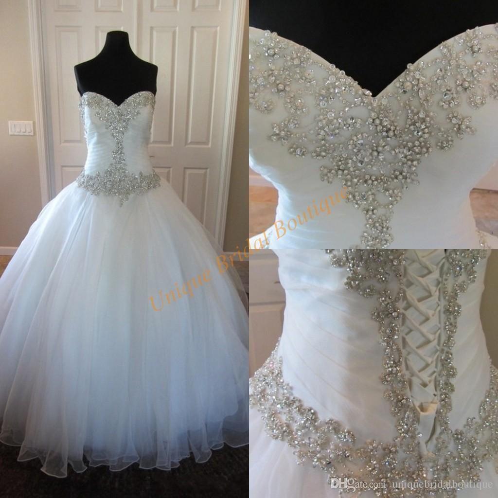 Ball gown wedding dress with bling  Vestido De Noiva  Ball Gown Wedding Dresses With Lace Up Back
