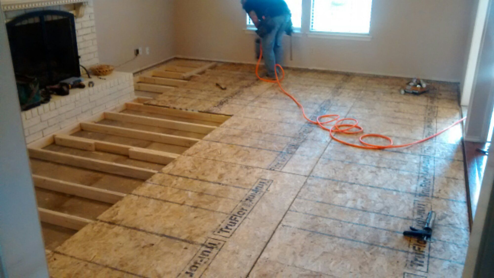 Laminate Flooring Sunken Living Room White Slipcovered Sofa Fix A Drop Down Floors Dinning In 2019