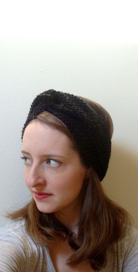 h a n d k n i t retro turban headband / black / by purlknitting, $25.00