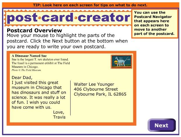 readwritethink post card generator interactive for kids computer