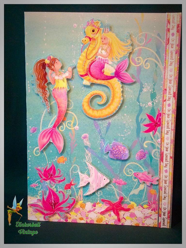 Child birthday card handmade greeting card birthday mermaid and