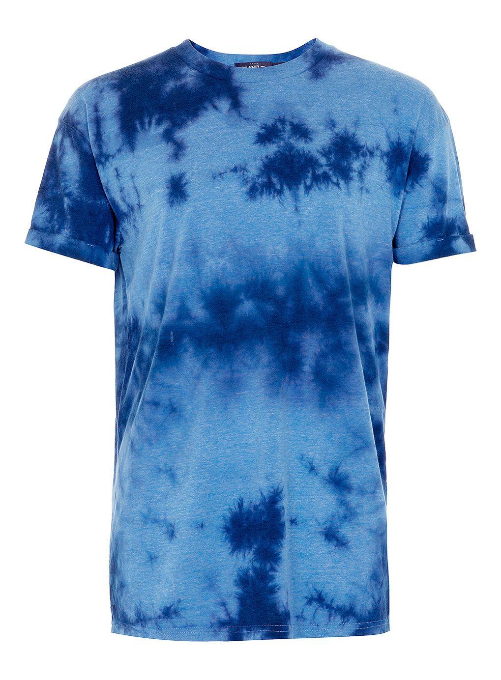 BLUE MARL OVERSIZE TIE DYE T-SHIRT - Topman price: £20.00