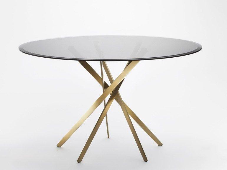 Tavolo rotondo in acciaio e vetro IKI | Tavolo in vetro by Adentro ...