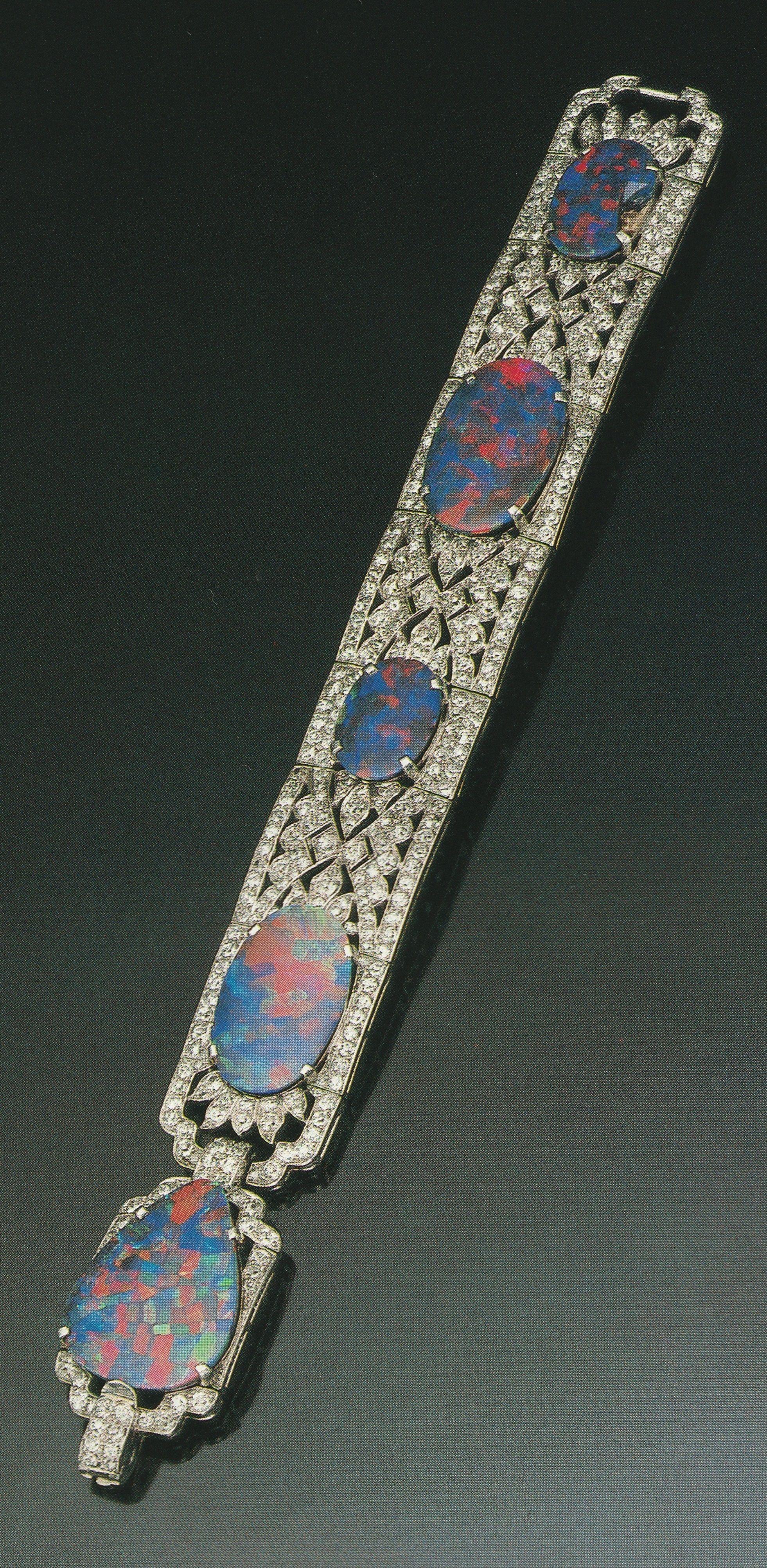 Cartier an important art deco opal and diamond bracelet circa