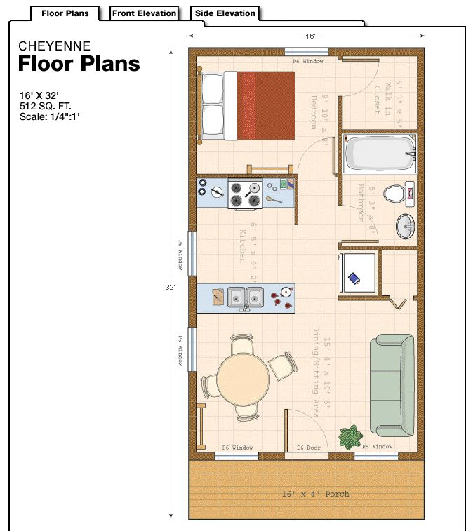 16 x 32 floor plan Love this but I'd have to put a washer/dryer