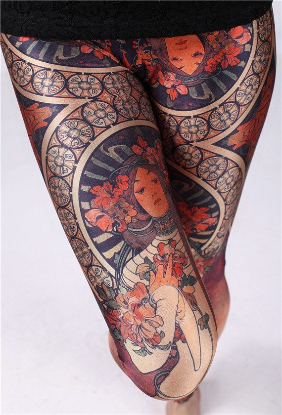 545985421b6 Alphonse Mucha Print Yoga Leggings-Alfons Mucha Tights-Christmas  Stocking-Yoga Tights-Handmade Woman Leggings Yoga Pants-Leg Socks Clothing