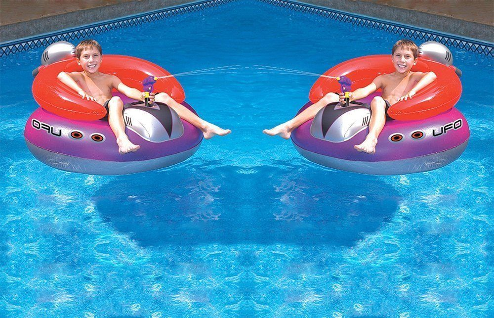 UFO Squirter Toy Inflatable Lounge Chair Pool Float Swim Spaceship 2 Pack  New