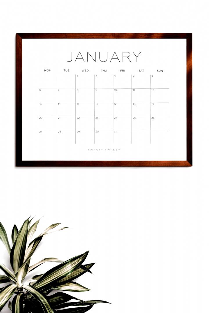 2020 Printable Calendar 2020 Large Wall Calendar 2020 Big In 2020