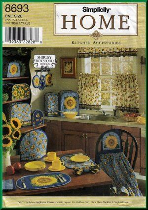 Sunflower Home Dec Kitchen Accessories Simplicity Sewing Pattern 8693 Crafts Decor Curtains A