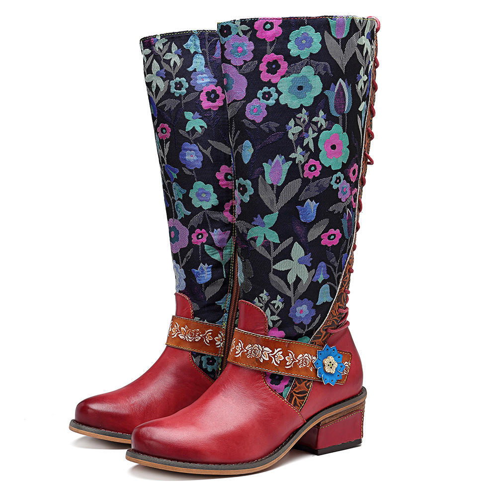 64613eca004 SOCOFY Splicing Floral Pattern Mid-calf Leather Boots - Banggood ...