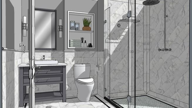 White stone bathroom 3d warehouse sketchup architect stone