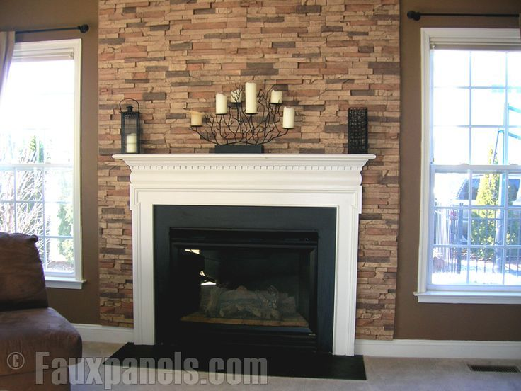 Fake Brick Looking Panels Around Fireplace Makes It Pop Home