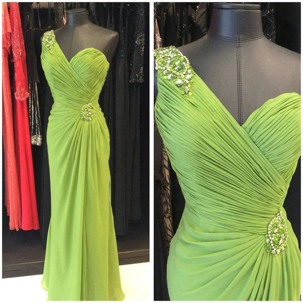 Click to buy ucuc fabulous neon green evening dresses one shoulder