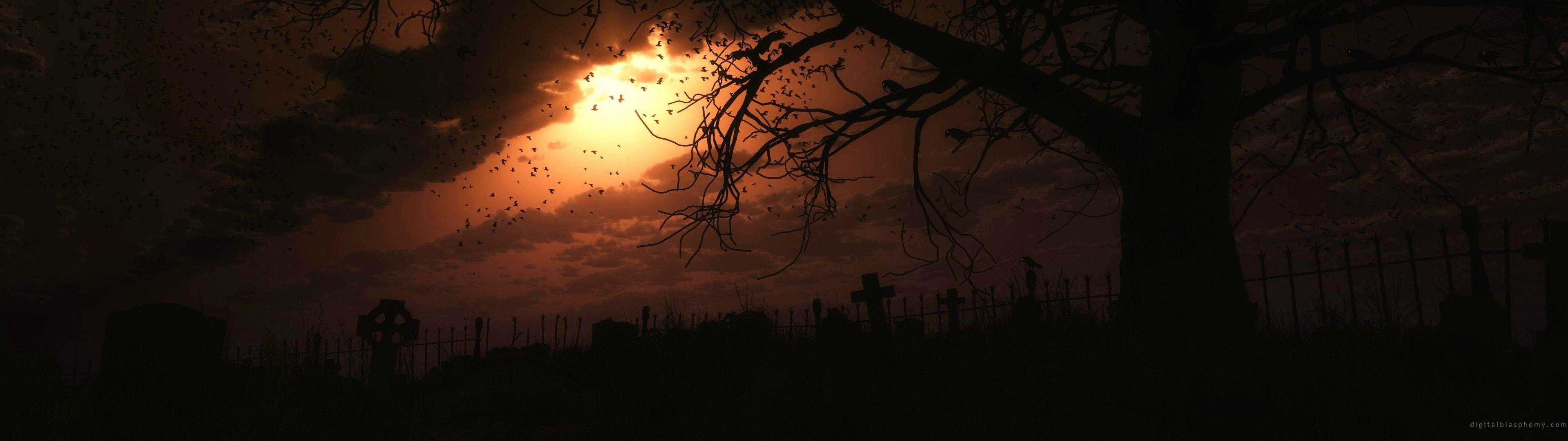 Spooky Halloween Wallpaper 3840x1080 Dual Monitor