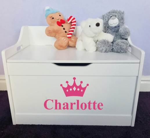 Personalised Princess Baby Girl Or Boy White Toddler Wooden Toy Storage Box Toy Storage Boxes Girls Toy Box Wooden Toy Boxes