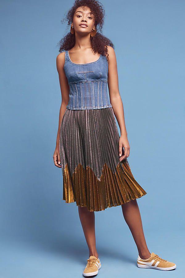 a12c01270 Denim Corset Cami | Anthro-dreaming | Denim corset, Gold pleated ...