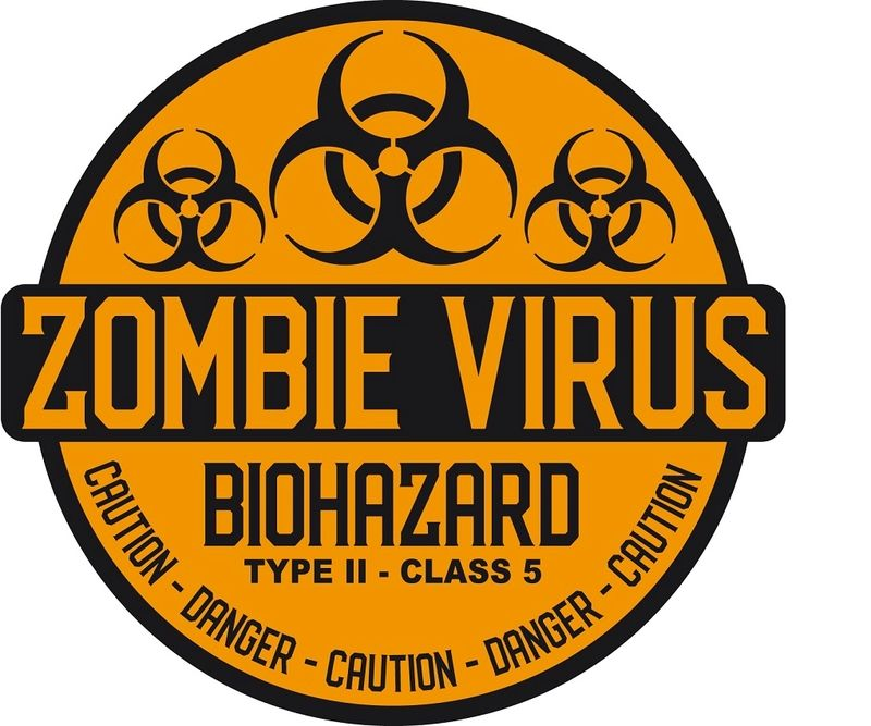 "5.0/""x4.6/"" Caution Zombies printed vinyl decal sticker warning zombie sign"