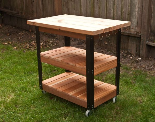 How To Make A Diy Rolling Grill Cart And Bbq Prep Station With Images Grill Cart Bbq Table Bbq Stand