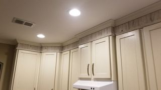 Kitchen Cabinet Crown Molding  Make Them Fancy! - Kitchen cabinet crown molding, Kitchen cabinets, Cabinet molding, Kitchen cabinets height, Upper kitchen cabinets, Cabinet - I helped my Neighbor install some new upper cabinets    this project is about how we made them fancy by putting a simple crown molding on the top  This hack is so clever!