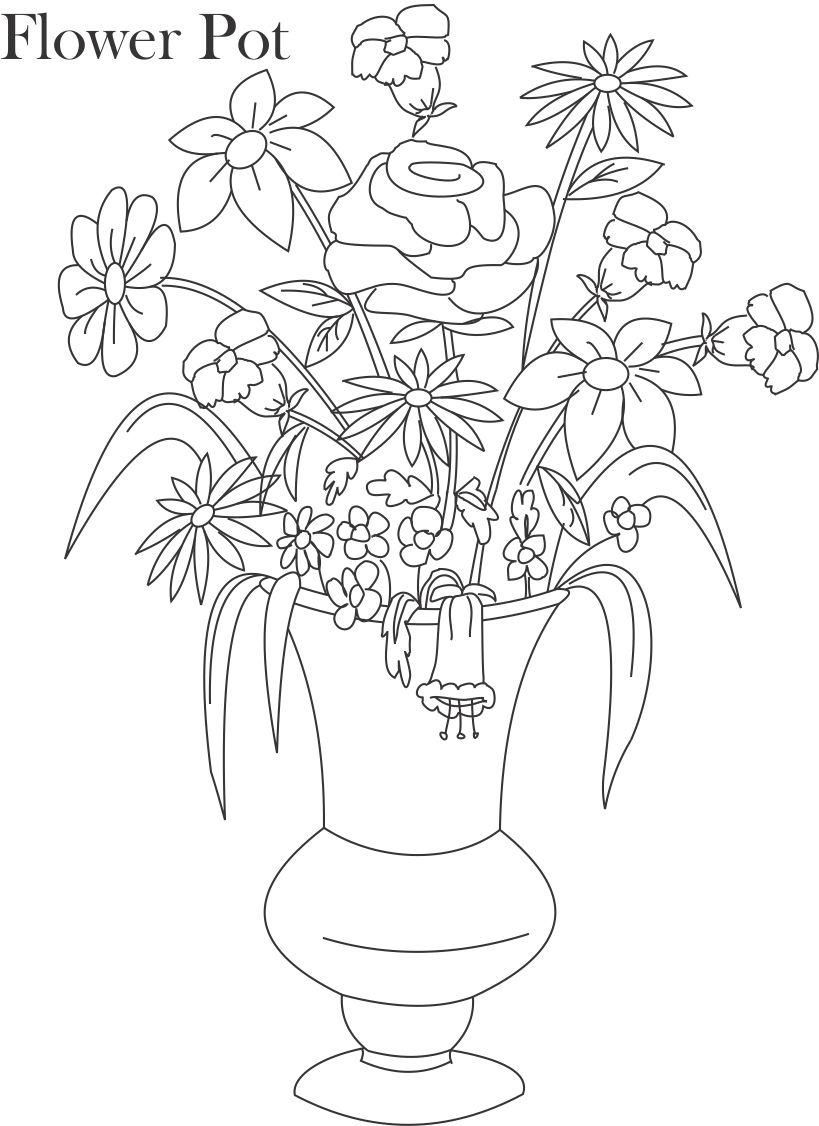 line drawings of flowers in vases Google Search Flower