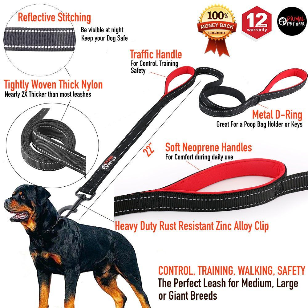 Primal Pet Gear Dog Leash 6ft Long Traffic Padded Two Handle