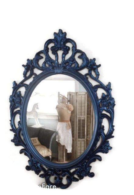 Ornate Mirror Wall Hanging Bathroom Navy Blue Framed Ebay