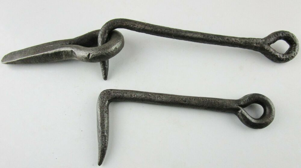 "Blacksmith Custom hand forged wrought iron 3/"" hook and eye latch."