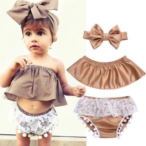 2f4991d5dc9a Newborn-Baby-Girl-Clothes-Set-Off-Shoulder-Top-T-Shirt-Shorts-Pants -3PCS-Outfit