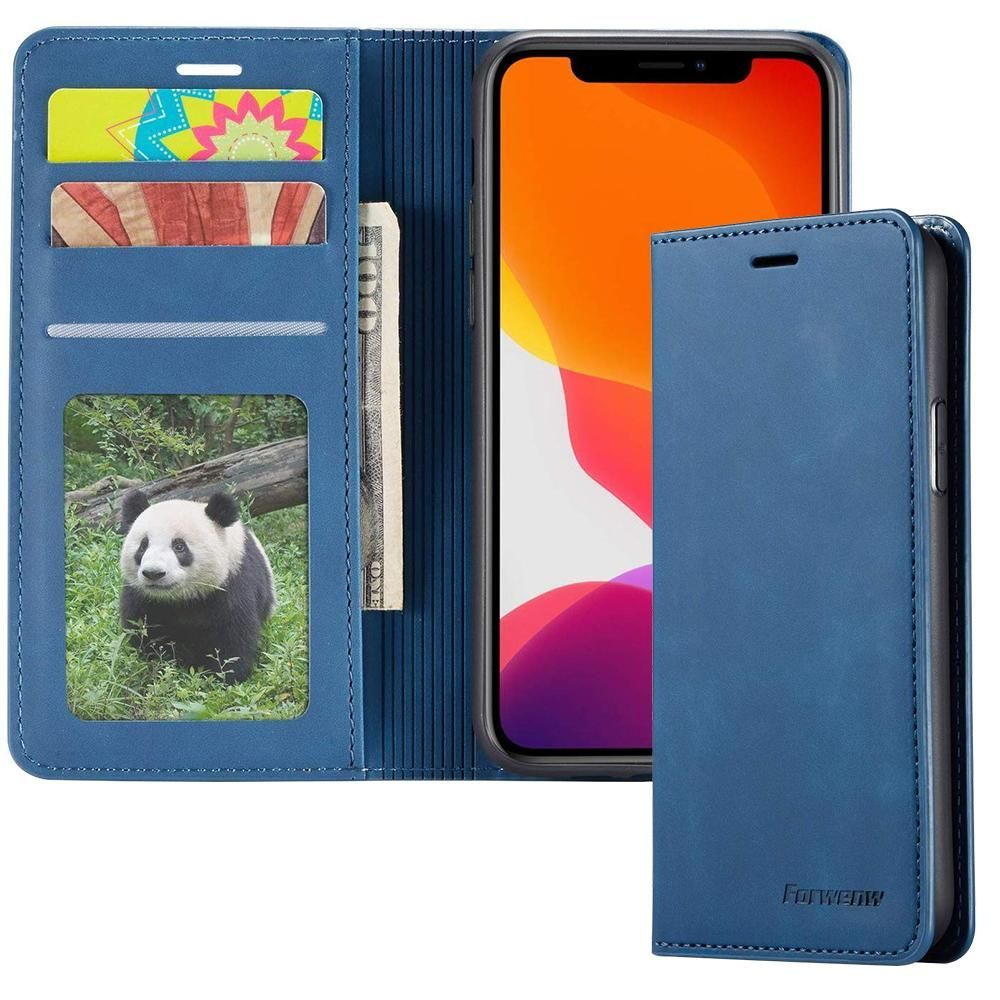 Samsung Flip Leather Wallet Phone Case Card Holder, Blue