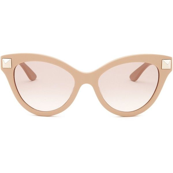 Valentino Women's Cat Eye Stud Sunglasses ($70) ❤ liked on Polyvore featuring accessories, eyewear, sunglasses, nude, cateye sunglasses, valentino sunglasses, uv protection sunglasses, lens glasses and cat-eye glasses