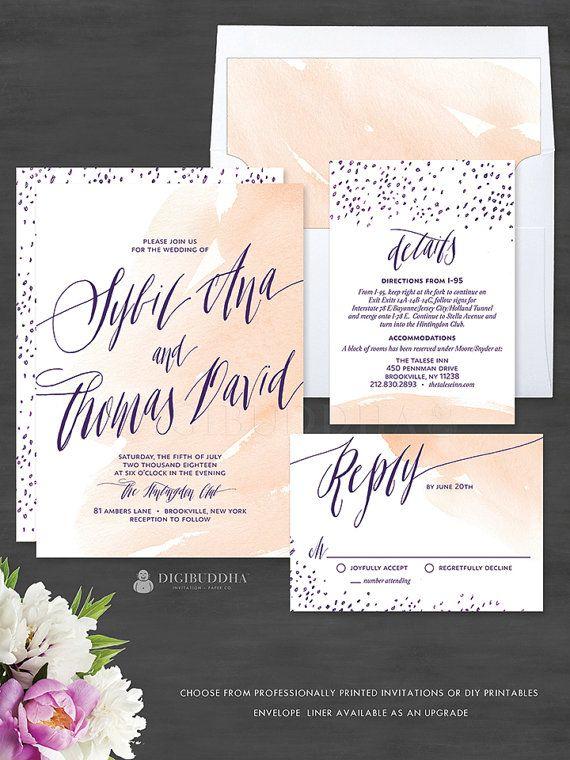 Watercolor Wedding Invitations 3 Piece Invitation Set Romantic