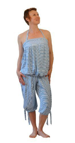 Boe Suits Womens Halter Neck Jumpsuit Blue and White Striped Jersey One Size *** Click image for more details.(This is an Amazon affiliate link)