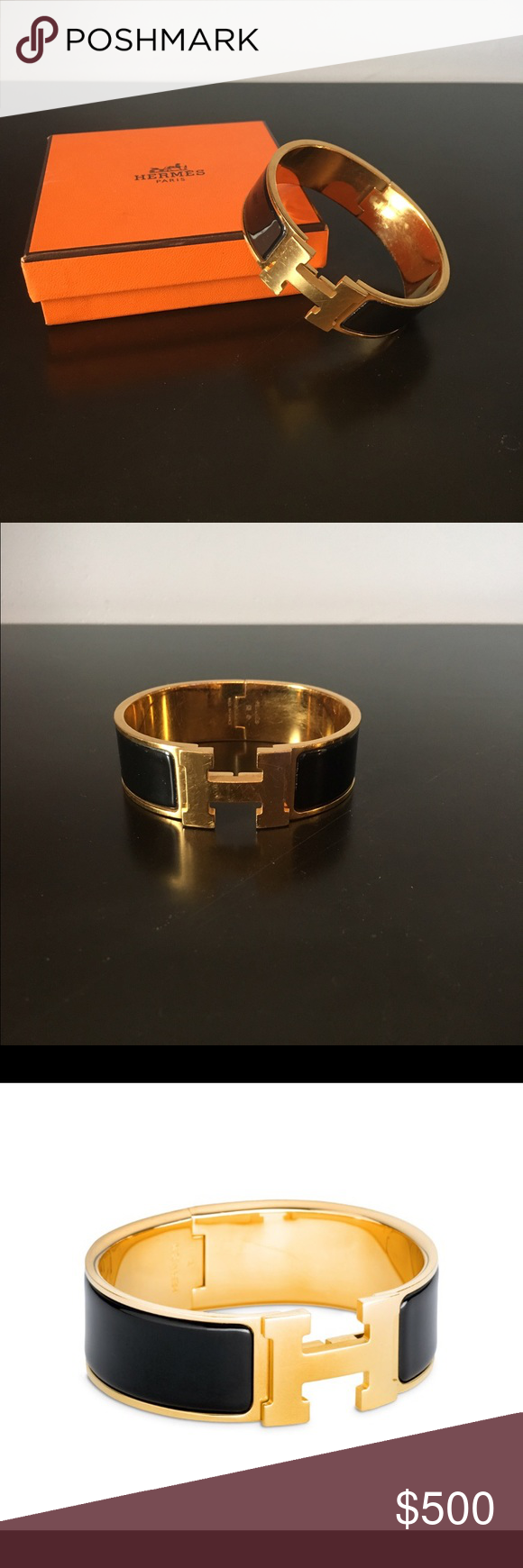 Hermes Clic Clac H Bracelet Black Enamel With Gold Plating Size Gm 1 Inch Wide