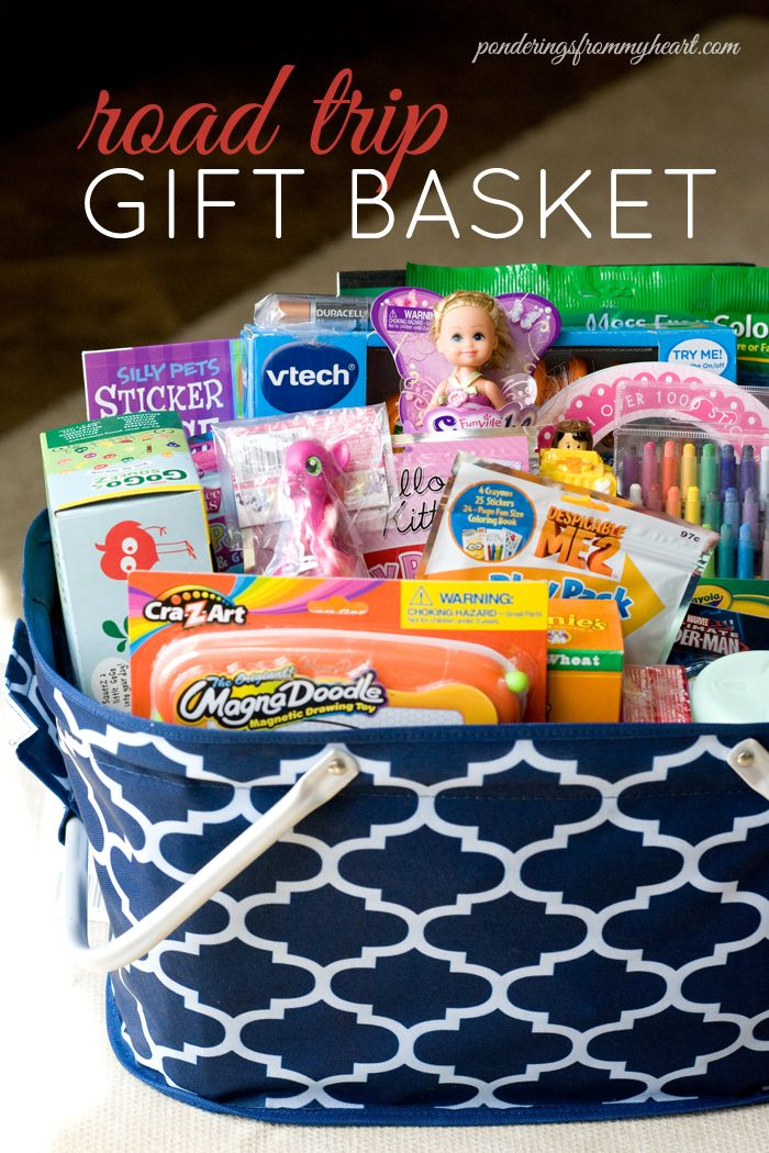 I Love Going On Road Trips With My Kids But That S Probably Due To The Fact That I Always Take Along A R Road Trip Gifts Vacation Gift Basket Road Trip Basket