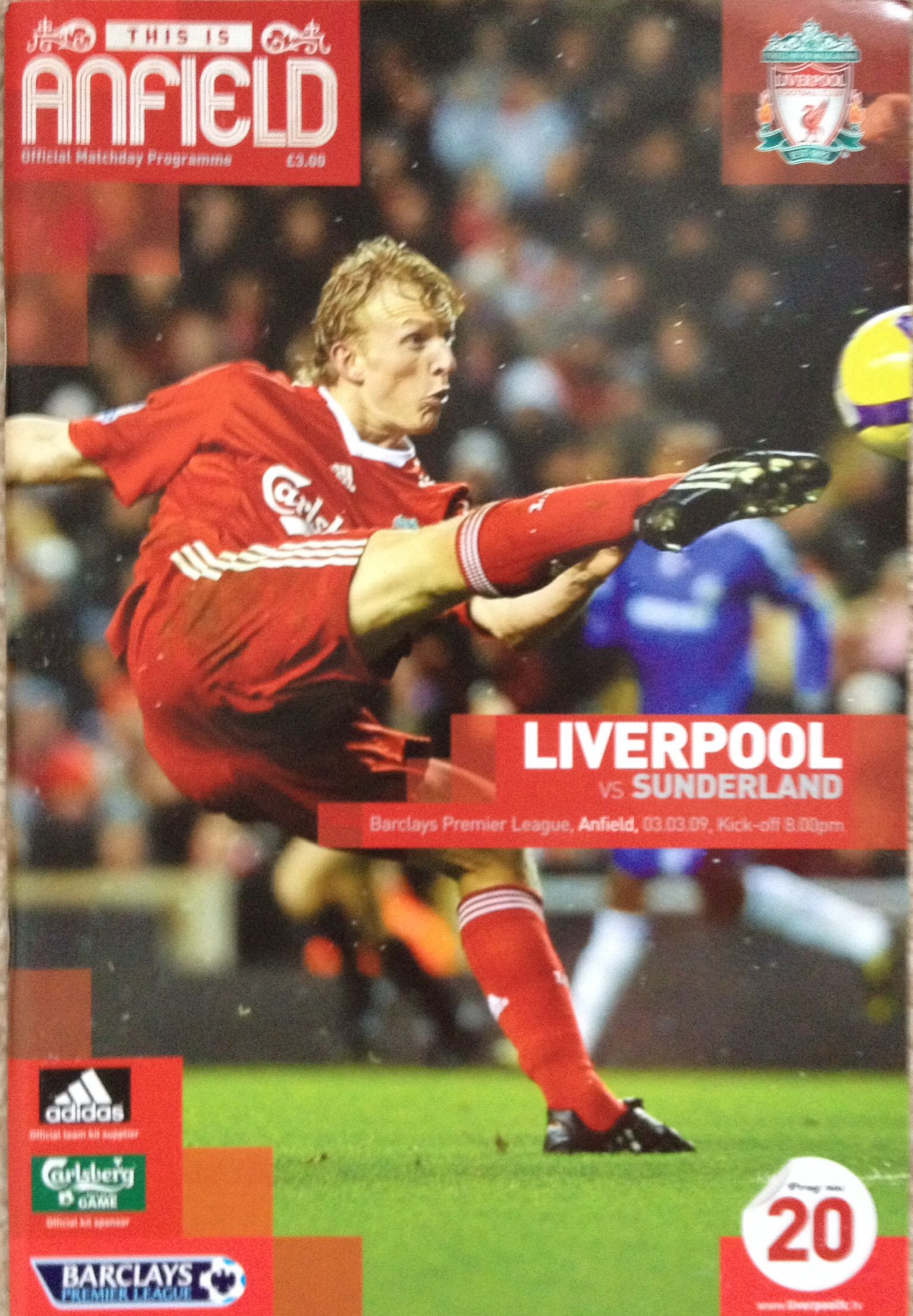 3/3/2009 Liverpool v Sunderland Football program
