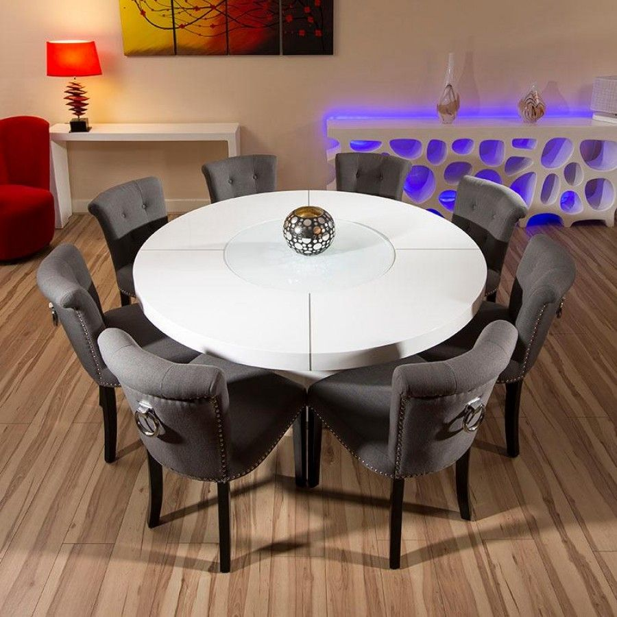 Find This Pin And More On Kitchen Large Round White Gloss Dining Table Set With 8 Low Back Grey Chairs