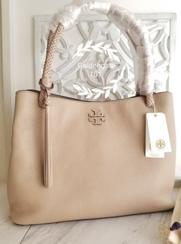 b23acfa6a5d TORY BURCH TAYLOR TRIPLE COMPARTMENT TOTE PEBBLED LEATHER SOFT CLAY NWT  AUTHENTI