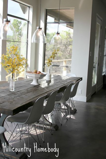 rustic modern dining room white modern chairs/farmhouse table hill
