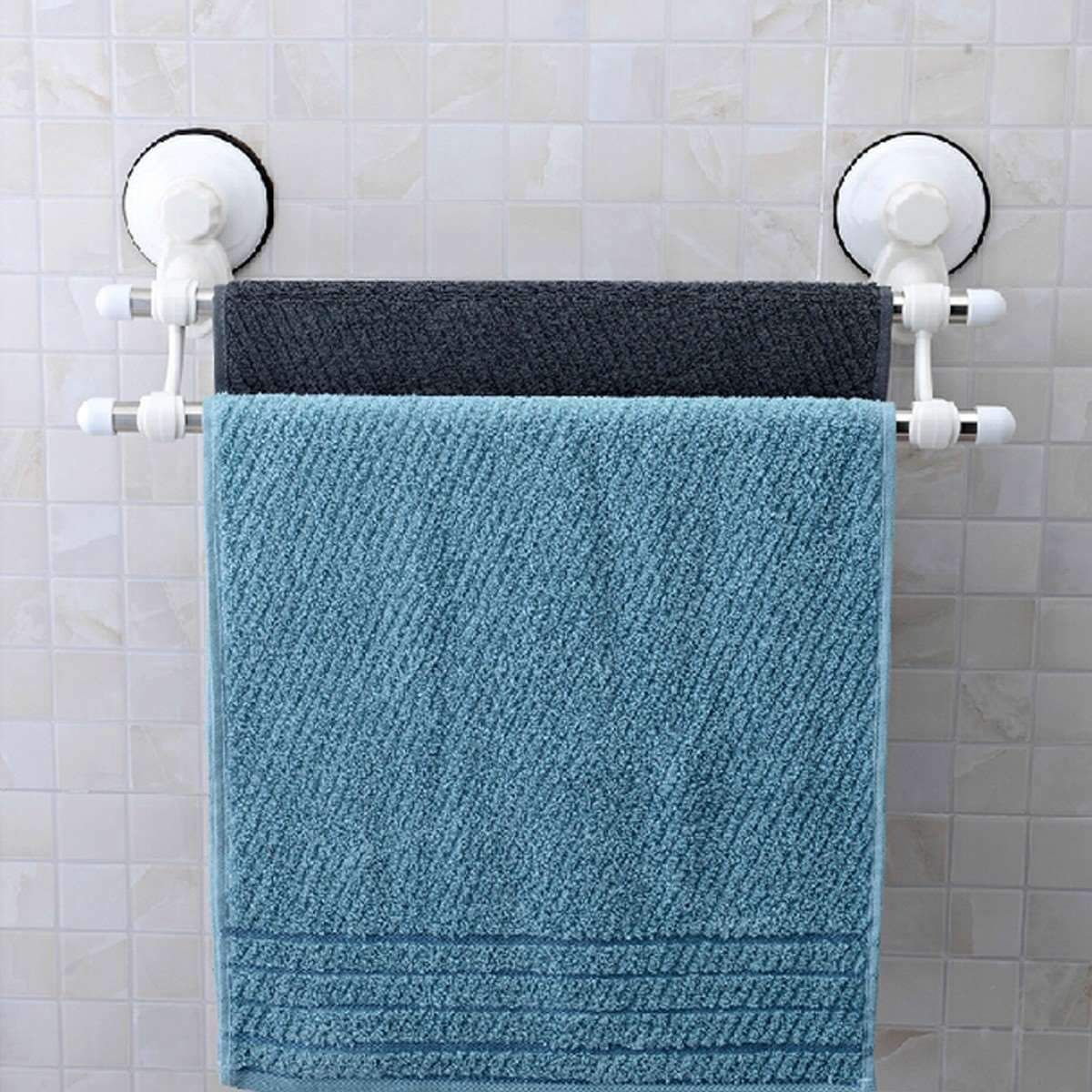 Buy Double Rod Suction Cup Stainless Steel Wall Mounted Bathroom ...