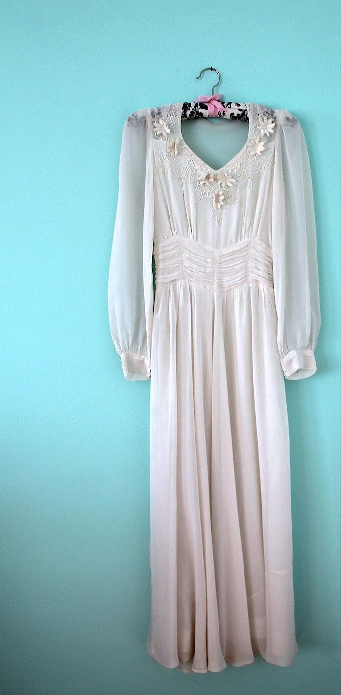1930s 1940s Wedding Dress Vintage White Silk Soustache Flower Applique Embroidery 30s 40s By