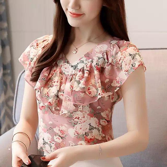 2018 Moda Verão Blusas Femininas Camisas Plus Size Floral Tops Senhoras  Babados Blusa de Manga Curta Chiffon Blusas Feminina Mujer 624b36410b1