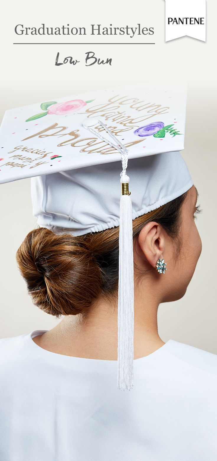 Low Bun Tutorial Easy Elegant Hairstyle That Fits Perfectly Under A Graduatio Graduation Hairstyles With Cap Graduation Hairstyles Simple Elegant Hairstyles